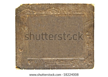 aging cardboard frame on white background