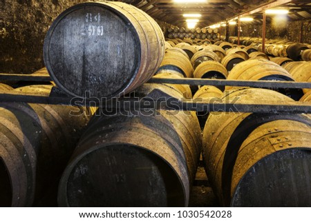 Aging old wooden barrels and casks in cellar at whisky distillery in Scotland. #1030542028