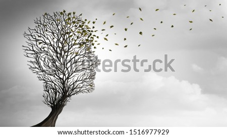Aging or Ageing and growing older concept as a tree shaped as a human head losing leaves as a health symbol for senior care or longevity idea in a 3D illustration style.