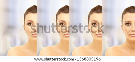 Aging process.Age changes.Aging.Woman of different ages-30,40,50,60 #1368805196