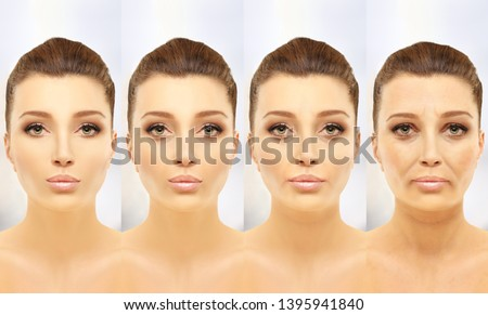 Aging process.Age changes.Aging.Woman of different ages-30,40,50,60