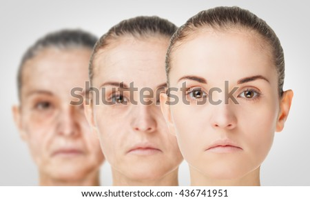 Aging process, rejuvenation anti-aging skin procedures. Old and young concept #436741951