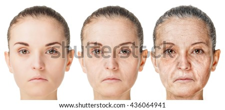 Aging process, rejuvenation anti-aging skin procedures. Old and young faces isolated on white background #436064941