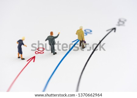 Aging society concept. Miniature people, senior citizens standing on age line.