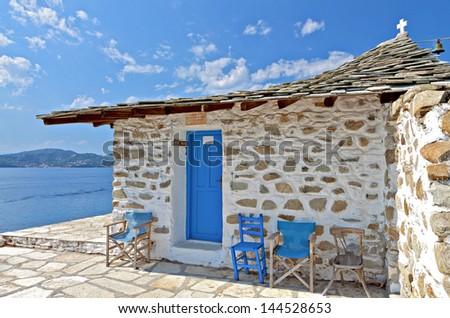 Agios Floros chapel at Tsougria island near Skiathos in Greece