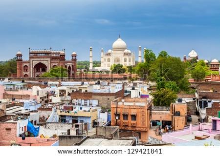 Agra downtown with Taj Mahal, India