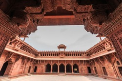 Agra Fort built by Mughal Emperor Akbar, Historic red sandstone fort of medieval India, Agra Fort is a UNESCO World Heritage site in the city of Agra, Uttar Pradesh, India.