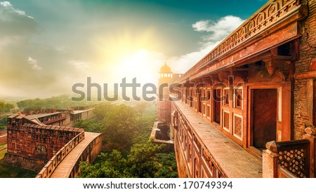 Agra Fort, is a monument,  a UNESCO World Heritage site located in Agra, Uttar Pradesh, India. The fort can be more accurately described as a walled city. - Shutterstock ID 170749394