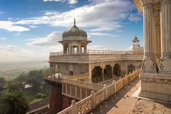 Agra Fort musamman burj dome with moody sky. Agra Fort is a UNESCO World heritage site at Agra India.