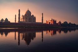 Agra, Uttar Pradesh, India, January 19, 2011 : A beautiful view of the Taj Mahal seen in the Yamuna River in Agra
