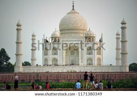 Agra, Uttar Pradesh, India, Taj Mahal 7 world wonders and the symbol of true love. Beautiful travel destination memory when visited agra,  #1171380349