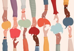 Agreement or affair between a group of colleagues or collaborators.Diversity People who exchange information.Arms and hands holding speech bubble.Concept of sharing and exchange.Community