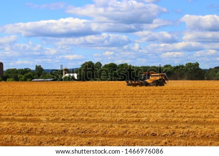Agricultural background and rural life at summer concept. Scenic rural landscape with harvested wheat field, combine harvester, farm buildings and beautiful cloudy sky at sunny day.