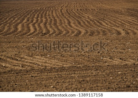 Agricultural Background, Newly Plowed Field #1389117158