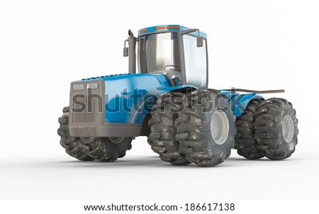 Agricultural blue tractor isolated on white background