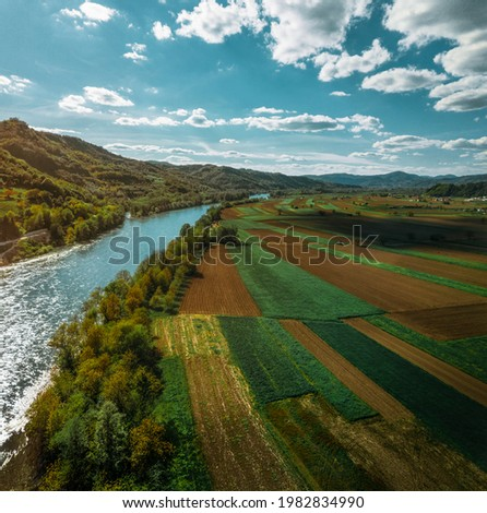 Agricultural carpet alongside Drina river in Serbia Stock photo ©