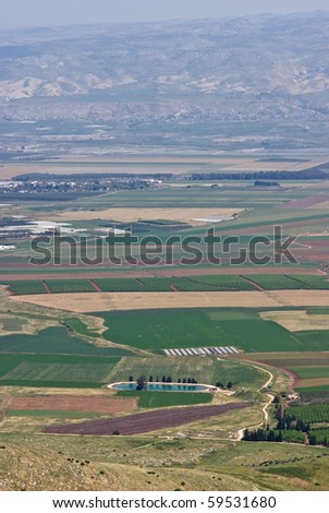 Agricultural fields at the jordan valley in israel