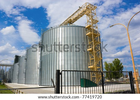 Agricultural grain elevator building for corn storage.