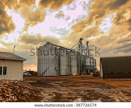 agricultural grain silos work site depiction