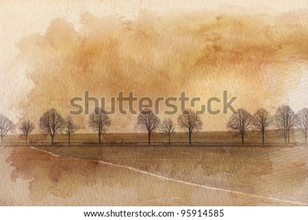 agricultural landscape with a country road crossing and processed with a decorative sepia toned watercolor wash