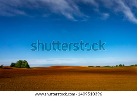Agricultural landscape with a lone tree in the red earth of a ploughed field in spring under a hazy blue sunny sky #1409510396