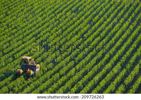 Agricultural machine in the vineyards-Landscape-Vineyard south west of France, Bordeaux Vineyard