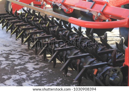 Agricultural machinery, model of cultivator at the exhibition