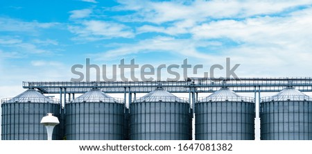 Agricultural silo at feed mill factory. Big tank for store grain in feed manufacturing. Seed stock tower for animal feed production. Commercial feed for livestock, swine and fish industries.  Stock photo ©