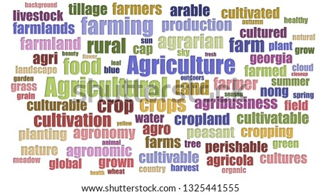 Agricultural Tagcloud Aligned Isolated On White