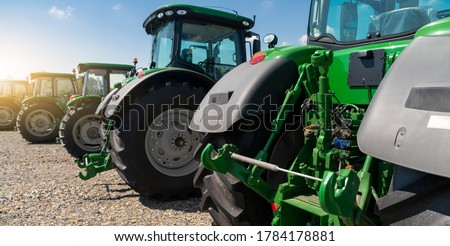 Agricultural tractors on a farm ストックフォト ©