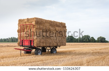 Agricultural wagon with stacked straw bales in the field waiting for transport.