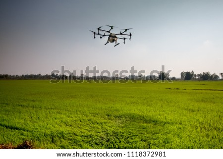 agriculture drone fly on sky and rice field #1118372981