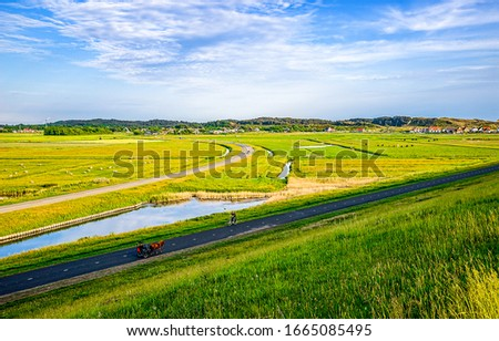 Agriculture farm field in spring. Farm field road landscape. Agriculture farm field road view