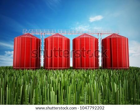 Agriculture grain silos on grass under blue sky. 3D illustration.