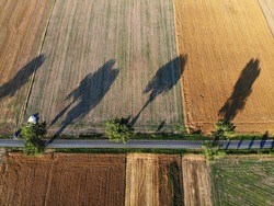 Agriculture landscape in Poland. Harvest time fields view in Lower Silesia (Dolnoslaskie) province. Rural road.