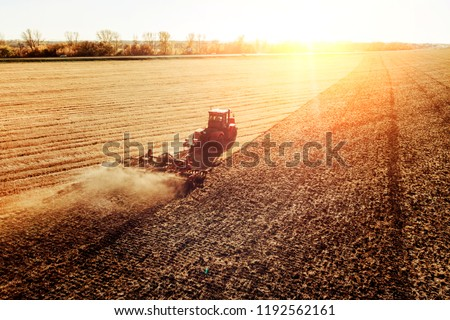 Agriculture machine harvesting crop in fields. Tractor pulls a mechanism for haymaking. Harvesting in autumn in the morning at dawn. agribusiness in the Altai region Russia. #1192562161