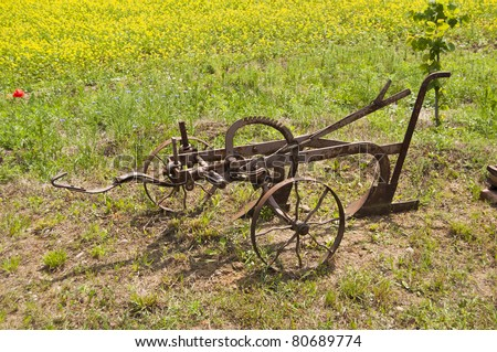 Agriculture old machine antique plough, equipment for farming