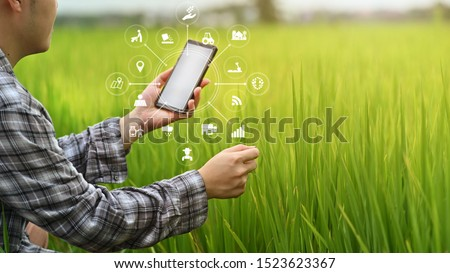 Agriculture technology farmer man using smartphone analysis data and visual icon. #1523623367
