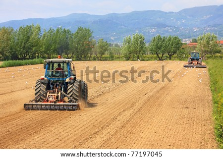 agriculture, two tractors working on a field