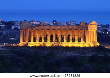 Agrigento, Sicily: ancient temple of Concordia in Valley of Temples, unesco world heritage in Italy at twilight