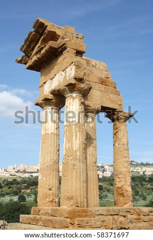 Agrigento, Sicily island in Italy. Famous Valle dei Templi, UNESCO World Heritage Site. Greek temple - remains of the Temple of Castor and Pollux.