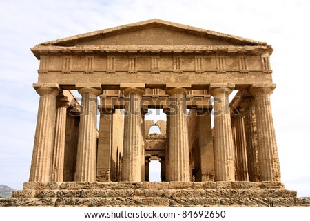 Agrigento, Sicily island in Italy. Famous Valle dei Templi, UNESCO World Heritage Site. Greek temple - remains of the Temple of Concordia.