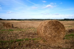 Agro-cultural rural landscape. Agricultural field after harvest. Straw bales packages on the field. A field with straw bales after harvest on the sky background.