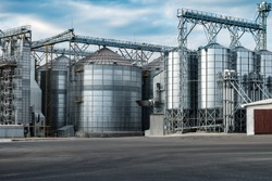 agro-processing and manufacturing plant for processing and silver silos for drying cleaning and storage of agricultural products, flour, cereals and grain. Granary elevator