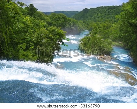 Agua Azul waterfalls blue water river in Chiapas Mexico