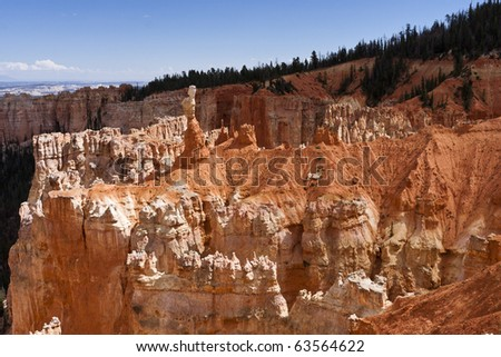 "Agua Canyon at Bryce Canyon. On the left, is the taller of the two towers, ""The Hunter."" To the right is a hoodoo commonly referred to as the ""Rabbit"" or alternatively the ""Backpacker."" - stock photo"
