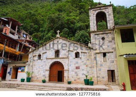 Aguas Calientes, main church in machu picchu, Peru