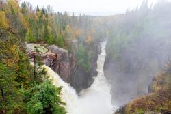 Aguasabon Falls on a misty foggy autumn day