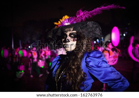 AGUASCALIENTES MEXICO NOV 02 Carnival of the Day of the Dead Aguacalientes Mexico 02 November 2013 The Day of the Dead is one of the most popular holidays in Mexico