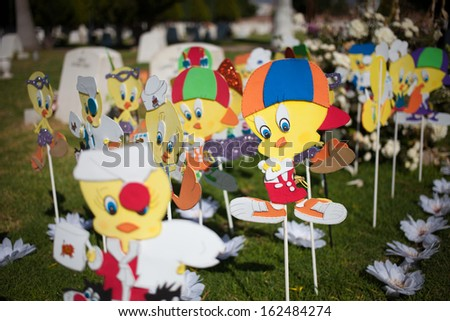 AGUASCALIENTES, MEXICO - NOV 01: Decorated grave on the cementary in the Day of the Dead, Aguacalientes, Mexico, 01 November 2013. The Day of the Dead is one of the most popular holidays in Mexico